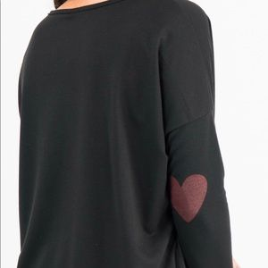 Urban Pullover - Black with heart on elbows.